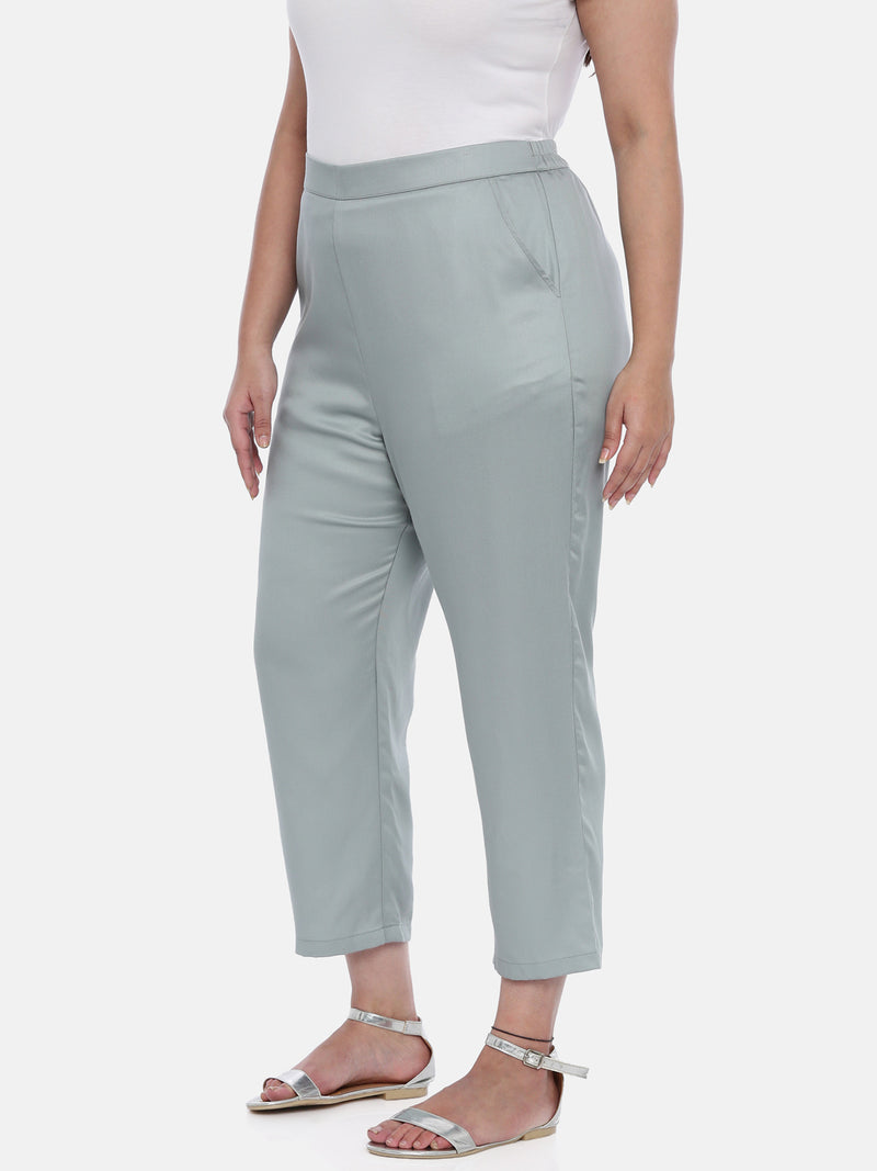The Pink Moon Plus Size Light Blue Cotton Pants | Straight Fit Formal Pants in Powder Blue