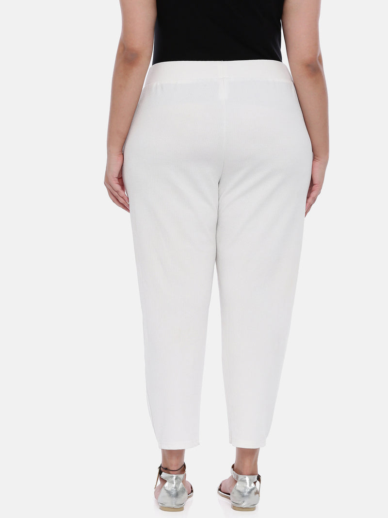 The Pink Moon Plus Size White Embossed Stretch Pants | Formal Pants with high stretch