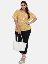 The Pink Moon Plus Size Yellow And White Floral Top | Summery Yellow Top With White Floral Print | Size – XL to 6XL