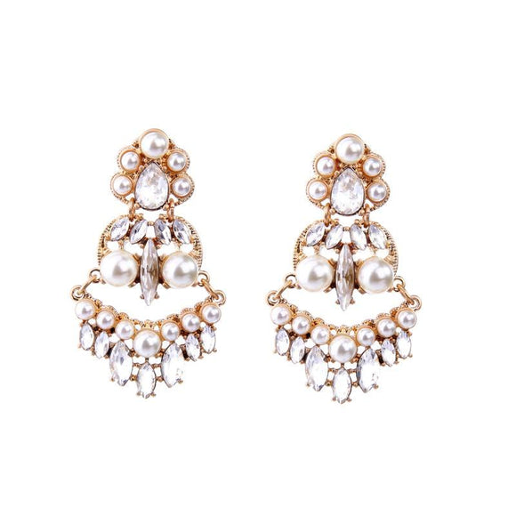 ATHENA 2018 Vintage Royal Style Simulated Pearl Gold Color Ethnic Earrings