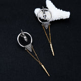 ATHENA 2018 Vintage Silver Cool Rivet Ear Punk Statement Earrings