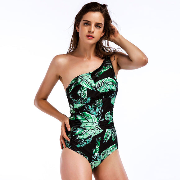 CORDELIA SWIMWEAR 2018 Leaf Print One Shoulder Design One Piece Swimsuit