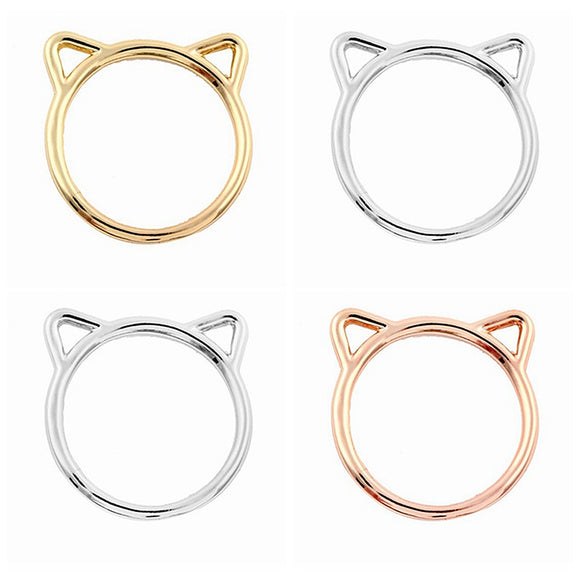 Egnara New Fashion Accessories Jewelry Rings Lovely kitty Cat Ear Rings for Women Wedding Gifts Simple Style Bague Femme
