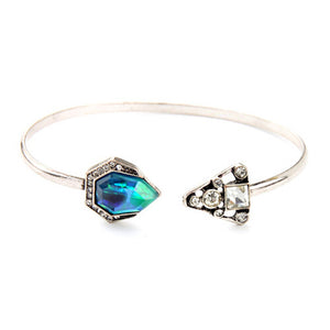 ATHENA 2018 Vintage Fashion Blue Gem Silver Bangles Crystal Triangle C Shape Open Bangles For Women Charm Jewelry Free Shipping