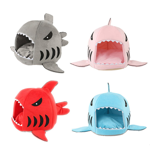 PETPETROL 2018 4 Colors Shark Mouth Shape Pet Bed Soft Warm Cute Dog House Sleeping Kennel