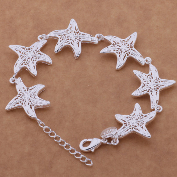SL-AH020 Wholesale silver plating bracelet, 925 stamped silver fashion jewelry Six starfish /bciajtpa abhaisoa