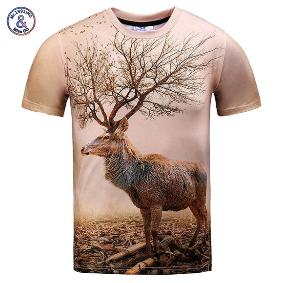 Mr.1991INC Very Nice Model T-shirt men/women 3d t shirt funny print autumn tree antlers deer summer tops tees plus size XXXL
