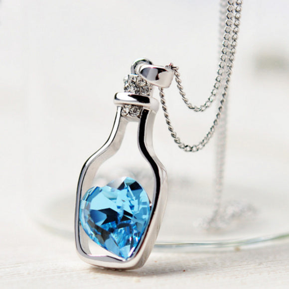 Bottled Crystal Blue Heart Pendant Necklace