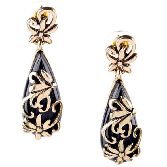 ATHENA 2018 Elegant Black Acrylic Vintage Alloy Hollow Flowers Earring For Women