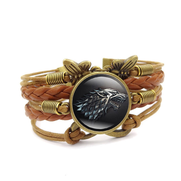 Game of Thrones Charm Bracelet Stark Wolf Glass Cabochon Movie Jewelry Vintage Multilayer Brown Leather Rope Bracelets for Women