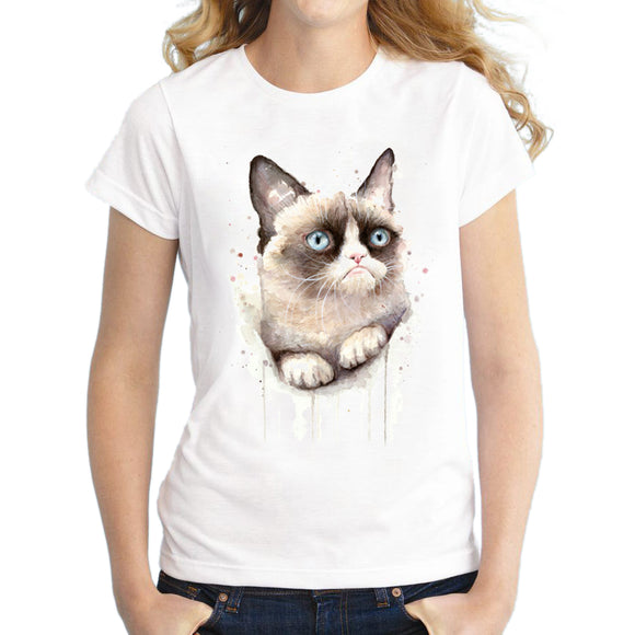 2016 New Fashion Watercolor Summer Grumpy Cat Print Women T Shirt Funny O-neck T-shirt Short Sleeve Harajuku Tops