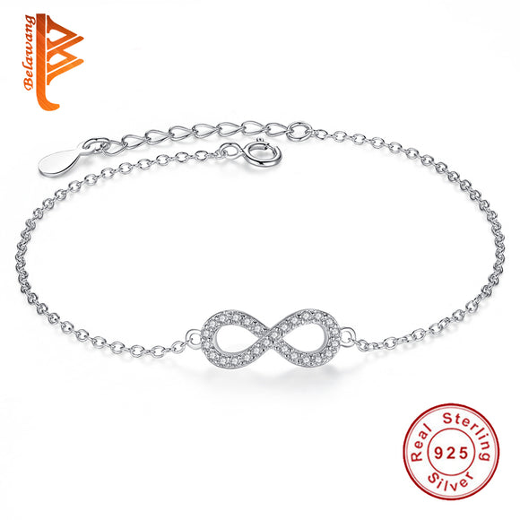 Authentic New Brand Women Infinity Bracelet 925 Sterling Silver CZ Crystal Charm Bracelet For Women Wedding Jewelry Gift YS1001