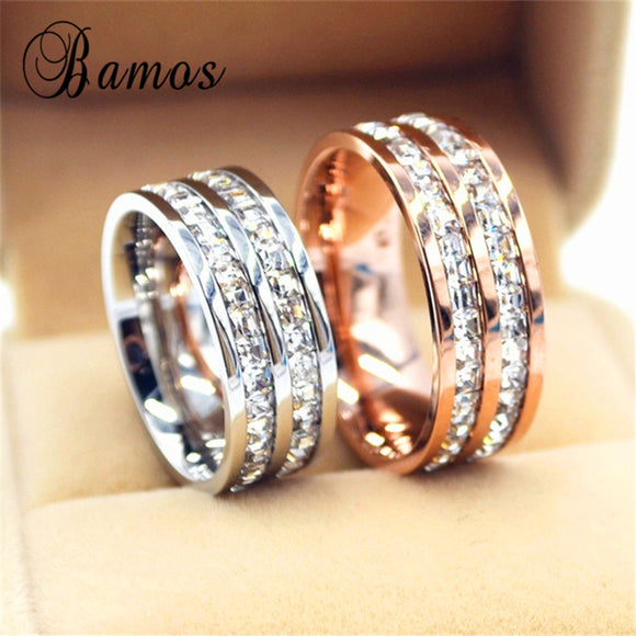 90% OFF ! Female Geometric Crystal Zircon Ring 925 Silver & Rose Gold Ring Promise Wedding Engagement Rings For Women