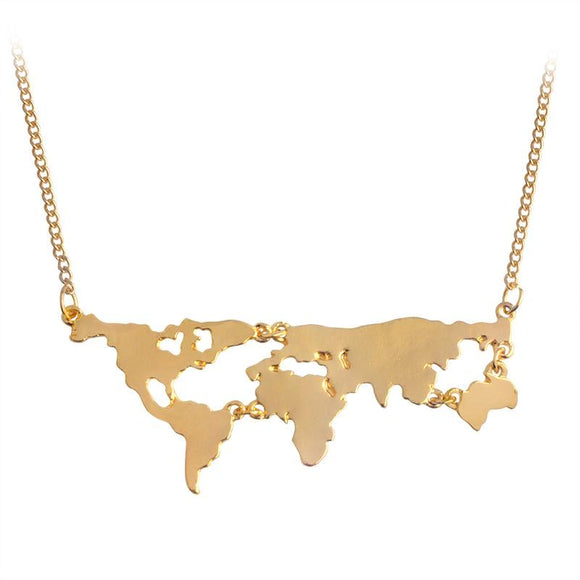 Earth World Map Pendant Long Necklaces