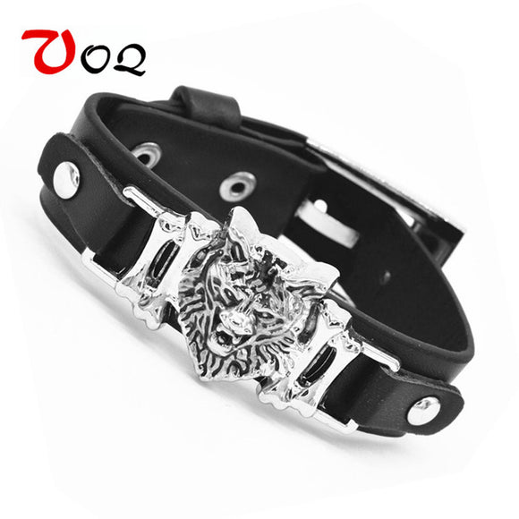 Tokyo Animation Final Fantasy VII 7 Cloud Wolf Wristband Cosploy Bracelets Advent Children Black Leather Bracelet Men Jewelry