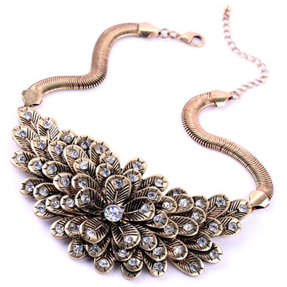 ATHENA 2018 Multilayer vintage Flower Necklace High Quality Rhinestone Pendant Necklaces Charm Jewelry Fashion Clothing Accessories