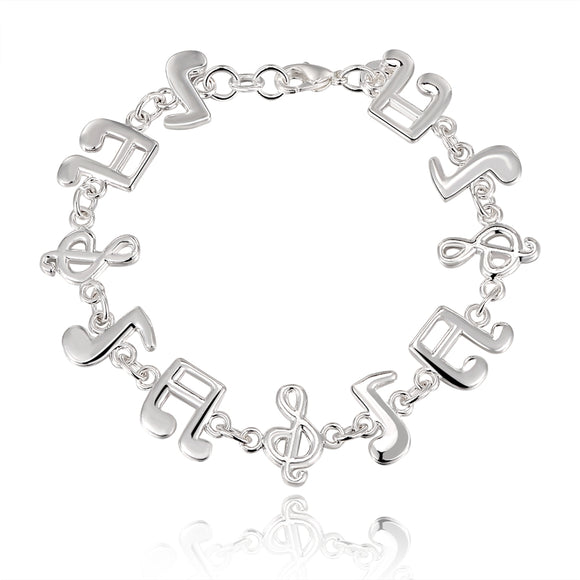 Beautiful Music note Silver plated Bracelets woman high quality fashion Gorgeous jewelry Floor price free shipping H242