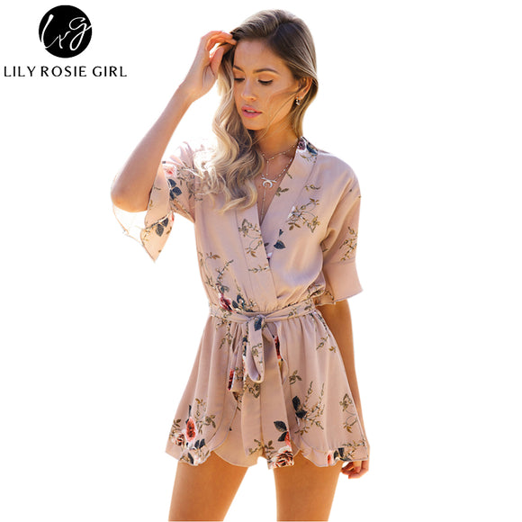 17bc9f41182 Boho Red Floral Print Ruffles Playsuits Women Elegant Autumn White V Neck Jumpsuits  Rompers Sexy Beach