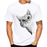 2017 New Arrivals Sneaky Cat Men T Shirt Cute Cat Printed t-shirt Short Sleeve Casual Basic Tops Cool Tee Shirts
