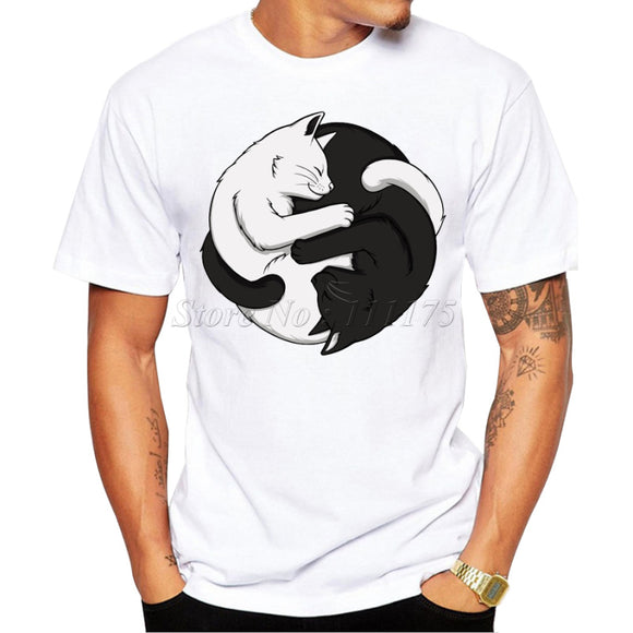 2016 Men's Summer Casual Tops Hipster Style Yin Yang Cats Printed T Shirt Fashion Tees