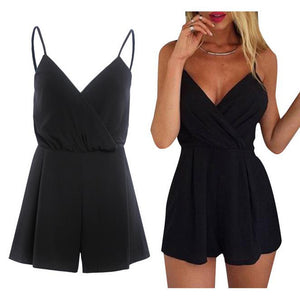 Lady Fashion Regular Casual Fashion V-Neck Sexy Summer Rompers Women Strap Jumpsuit for Female Black Short Playsuit Club Wear