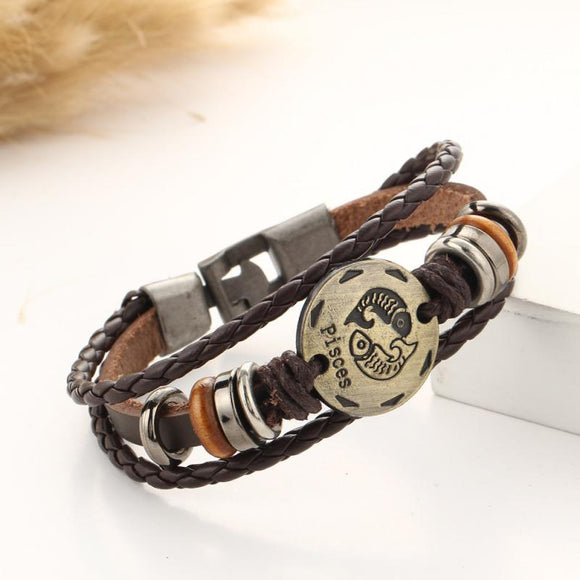 Bronze Alloy Buckles 12 Zodiac Bracelet Men Wrap Leather Bracelets Wooden Bead Signs Constellation Scorpio pulseras mujer Charm