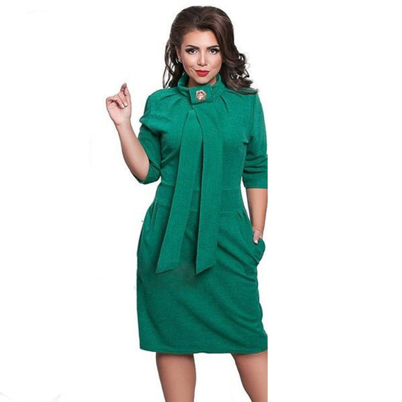 Turtleneck Women's Party Dress - Vestidos Plus Size