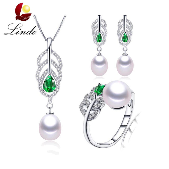 2017 Most fashionable Natural Pearl sets for women AAAA high quality silver necklace earrings ring Green crystal 4 colors LINDO