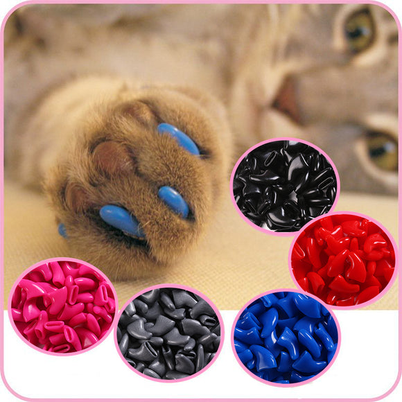 PETPETROL 100 pcs - Cats Kitten Paws Grooming Nail Claw Cap+5 Adhesive Glue+5 Applicator Soft Rubber Pet Nail Cover/Paws Caps Pet Supplies