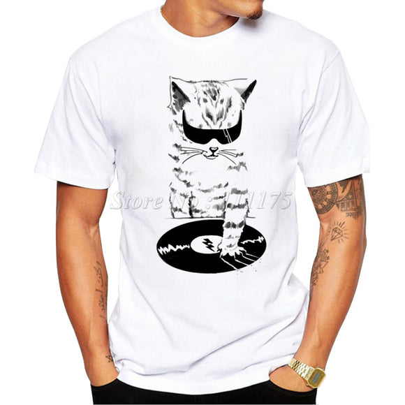 2017 Men's Funny DJ Music Cat Design T Shirt Male Fashion Cool Tops Hipster Printed Summer Tees