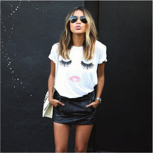 New summer fashion Eye lashes red lips loose t-shirts print women/girl t shirt cotton women's clothing short sleeve tee