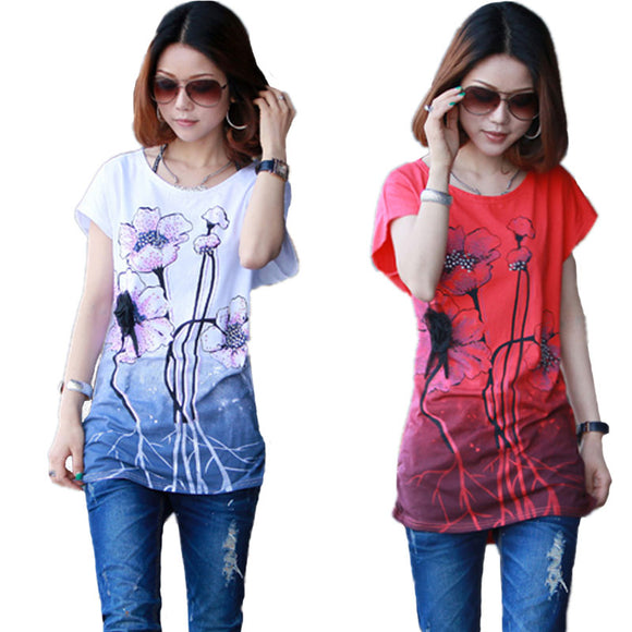 2017 Lotus Print Plus Size T Shirt Women Tops tshirt Short Sleeve Chinese ink painting style Summer Style Casual T Shirt female