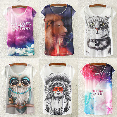 Brand New Fashion Summer Animal Cat Print Shirt O-Neck Short Sleeve T Shirt Women Tops White T-shirt