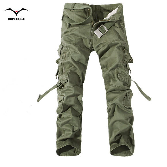 2017 New Men Cargo Pants army green big pockets decoration mens Casual trousers easy wash male autumn army pants plus size 42