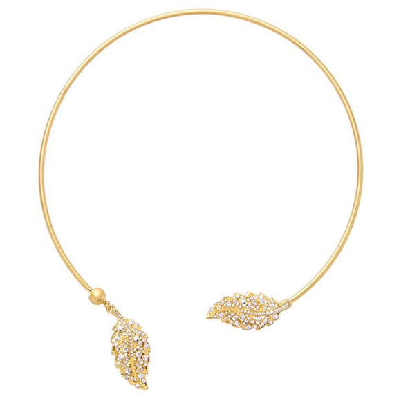 ATHENA 2018 Fashion Maxi Necklace Hiphop Style Collar Necklace Gold Color With Crystal Leaf Choker Necklace Torques