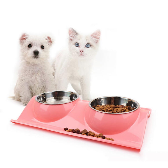 PETPETROL 2018 Stainless Steel Double Diner Dish Bowl Holder for Food and Water Feeder Pet Supplies