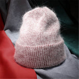 Women Autumn Winter Warm Rabbit Fur Knitted Beanies Thick Double Layer Wool Skullies Female Hat