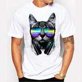 2017 fashion short music DJ cat printed Funny t-shirt men tops