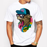 2016 New Arrival Men's Fashion Crazy DJ Cat Design T shirt Cool Tops Short Sleeve Hipster Tees