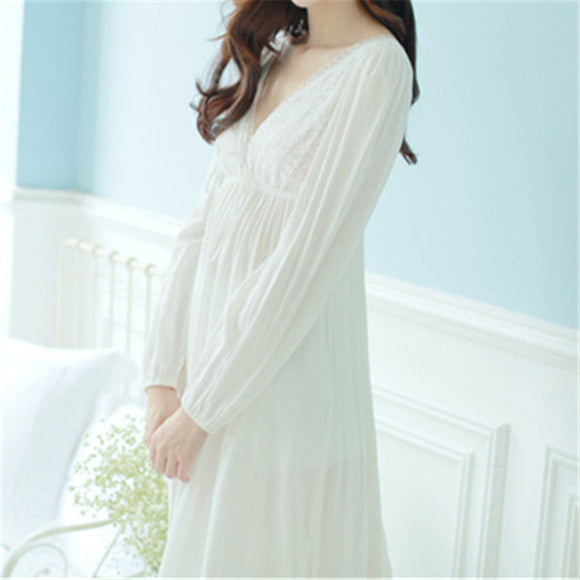 Shaapro Autumn Vintage Nightgowns V-Neck Ladies Dresses Princess White Sexy Sleepwear Solid Lace Home Dress Comfortable Nightdress