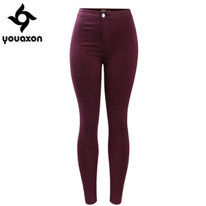 2035 Youaxon Women`s Free Shipping Burgundy Elastic Denim Jean Pants Trousers Skinny Pencil High Waisted Woman Jeans Femme