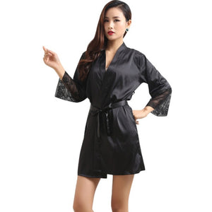 Mid-sleeve Sexy Women Deep-V Nightwear Robes Plus Size Lace Silk Female Bathrobes Sleepwear
