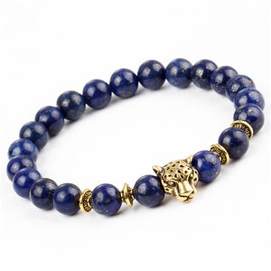 17KM Pulseras mujer Gold Color Leopard Head Bead Buddha Bracelet Natural Stone Lava Matte Tiger Eye Men and Women Bracelets
