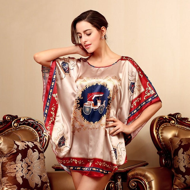 061a6e3cc5f8 ... 2016 Summer Silk Sexy Nightgowns Women Elegant Sleepshirts Printed Plus  Size Lounge Butterfly Sleeves Coffee Female ...