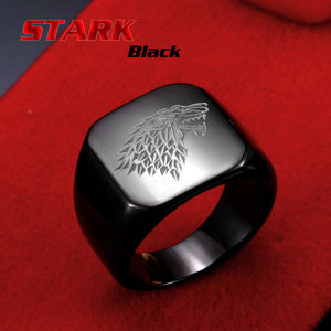Steel soldier stainless steel men movie style game of thrones fashion popular ring ice wolf men titanium steel jewelry