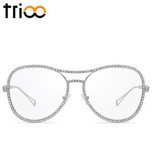 TRIOO Fashion Pink Women Glasses Decorative Rhinestone Style Eyeglass Frames Oversized Clear Lens Optical Eyewear Accessories