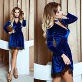 2017 Spring Newly Style Women Lace Velvet Dress Halter Deep V-Neck Long Sleeve Lace Dress Sexy Casual Mini Velour Dress Vestidos