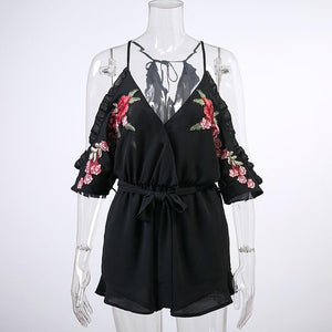 Off Shoulder Ruffler Black Rose Floral Embroidery Women Playsuits Sexy Party Rompers Jumpsuits Autumn Overalls Macacao Feminino