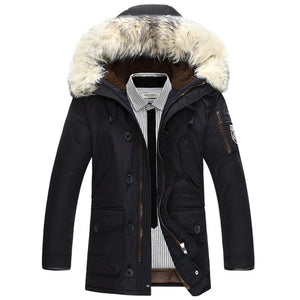 2017 new brand clothing jackets thick keep warm men is down jacket high quality fur collar hooded down jacket winter coat Male