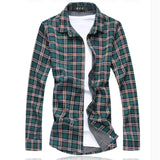 Men Cotton Plaid Slim Fit long Sleeve Shirt Chemise Homme